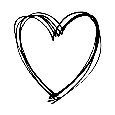 doodle hand drawn heart shaped on white background Ilustração
