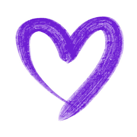 doodle hand drawn violet heart shaped on white background