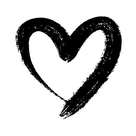 preto: mão do doodle do coração desenhado em forma no fundo branco