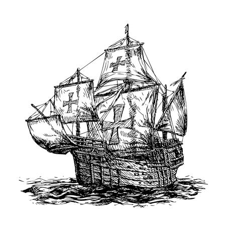 columbus: columbus ship hand drawn on white background