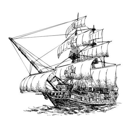 콜럼버스의 배를 손으로 흰색 배경에 그려진