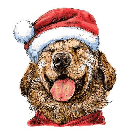 미소 산타 클로스 모자와 함께 노란색 래브라도 리트리버 손으로 그린 벡터, 크리스마스 배경 사용 일러스트