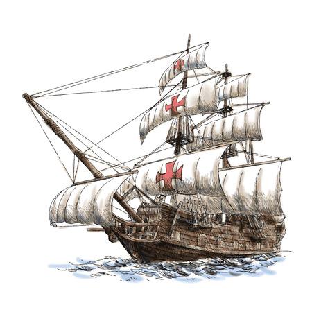 columbus schip hand getekend op een witte achtergrond