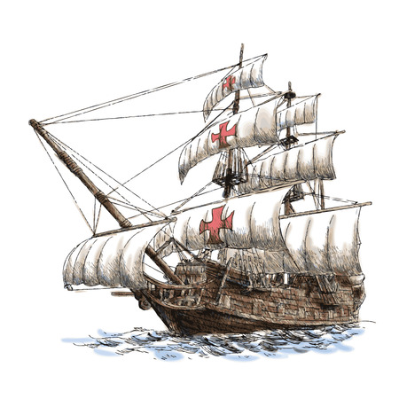 navy ship: columbus ship hand drawn on white background