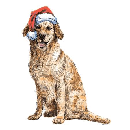 Gele Labrador met hoed van de Kerstman hand getrokken vector, te gebruiken voor kerst achtergrond Stock Illustratie