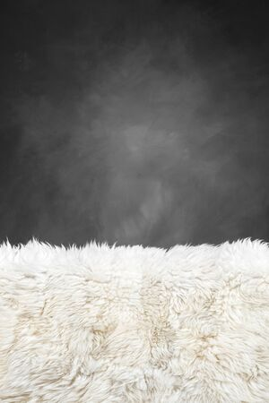 painted wall: white fur carpet and dark grey painted wall  use for background