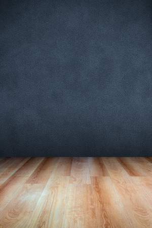 vanishing point: Leather textured wall and wooden floor  use for background Stock Photo