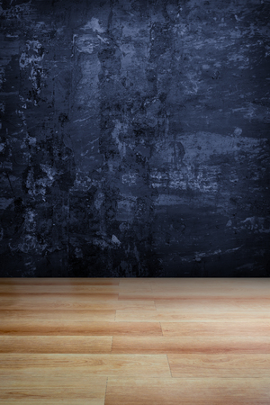 vanishing point: Dark blue grungy concrete wall and wooden floor  use for background