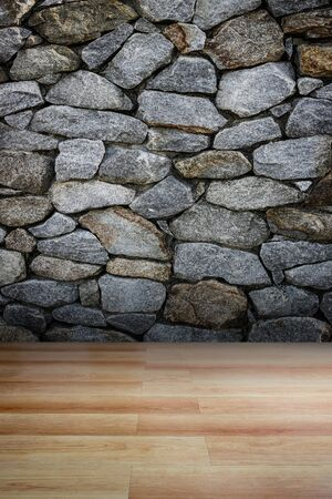 Stone wall and wooden floor  use for background Banco de Imagens