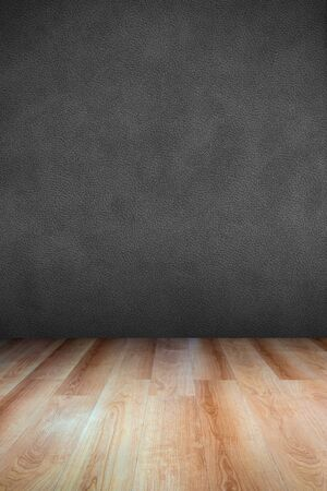 Leather textured wall and wooden floor  use for background Stok Fotoğraf