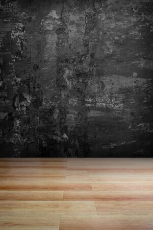 wooden floor: Dark grey grungy concrete wall and wooden floor  use for background