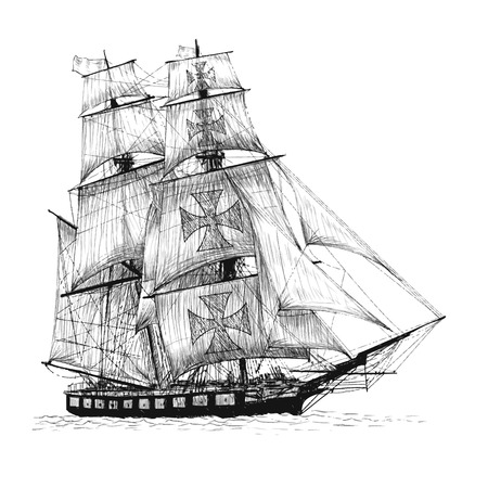 junk: columbus ship hand drawn on white background