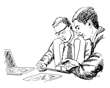 touchpad: hand drawn vector of two young businessmen using touchpad at meeting