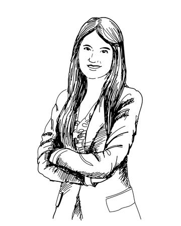 smart girl: hand drawn vector of beautiful businesswoman portrait