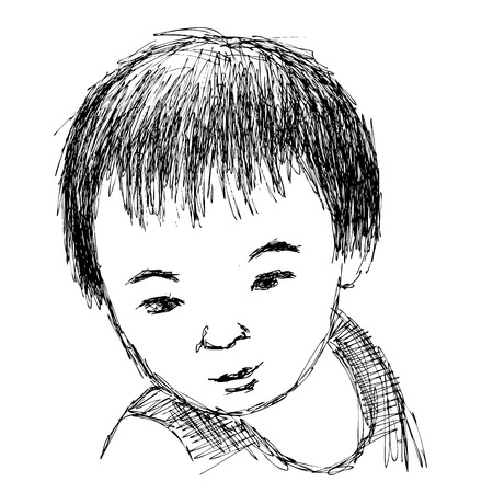 innocent girl: Child portrait, Hand drawn illustration sketch