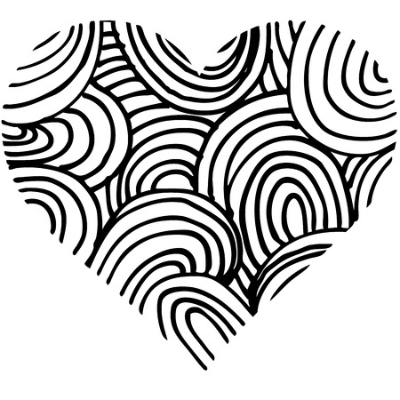 doodle abstract hand drawn pattern heart shaped on white background .