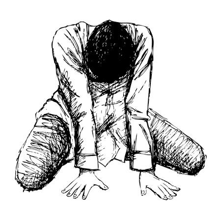 sketch: Human emotion sketch, sad girl hand drawn on white background