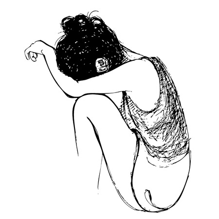 Human emotion sketch, sad girl hand drawn on white background