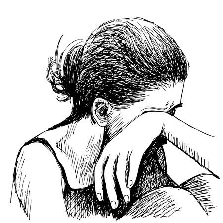 人間の感情は、白い背景に描かれた悲しい少女の手をスケッチします。  イラスト・ベクター素材