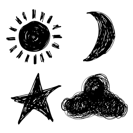 sun, moon, sky and cloud doodle hand drawn on white background