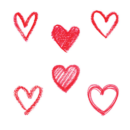 Set van doodle abstracte hand getekende patroon hartvormige op een witte achtergrond Stockfoto - 44176580