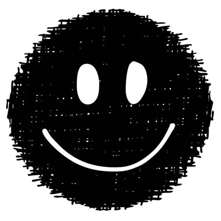 doodle smile face hand drawn on white background