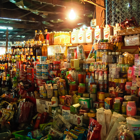 consumer goods: Kanchanaburi, Thailand - March 8, 2011 : A consumer goods shop in  Sangklaburi fresh market, Kanchanaburi, Thailand Editorial