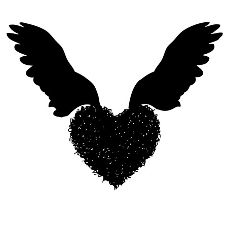 nimbus: doodle hand drawn of of heart with angel wings