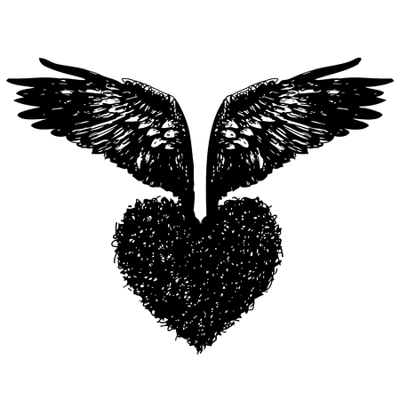 Freehand Sketch Illustration Of Heart With Angel Wings Symbol