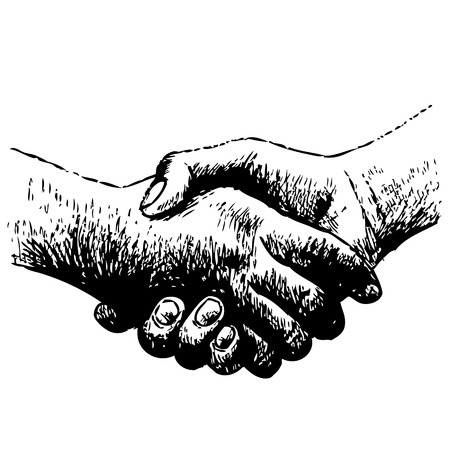 handclasp: hand drawn illustration of shaking hands