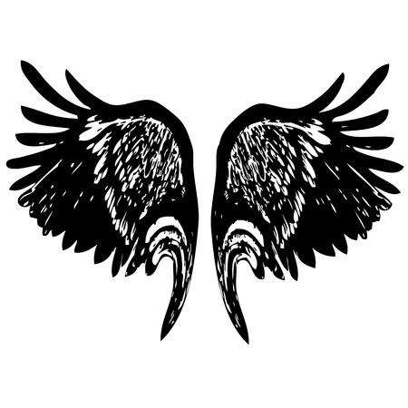 doodle hand drawn of of angel wings