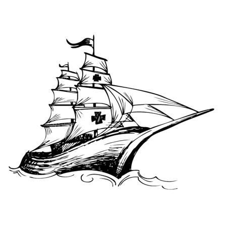 christopher columbus: Columbus ship hand drawn by pencil made for Columbus day Illustration