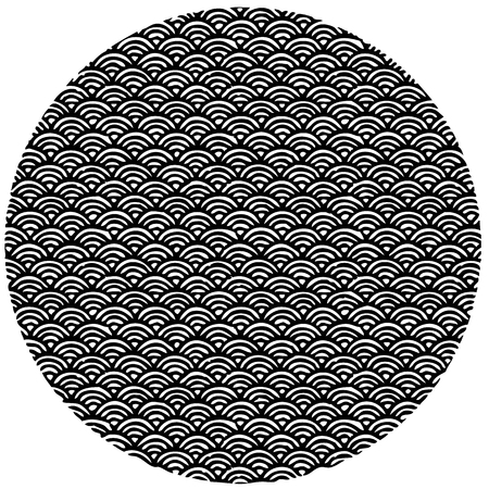 water waves: circle shaped, hand drawn pattern in Japanese style