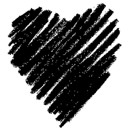 doodle abstract hand drawn pattern heart shaped on white background