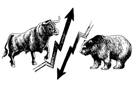 bullish: Doodle disegnato a mano di ribassista e rialzista collisione mercato