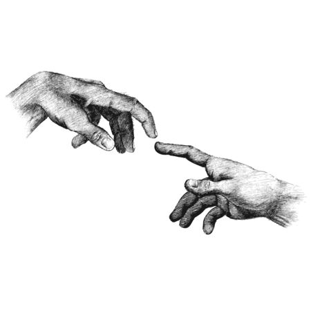 forefinger: freehand sketch of human hand on white background, power, tired
