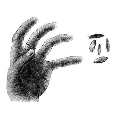 snatch: freehand sketch of human hand on white background, snatch, coins, money