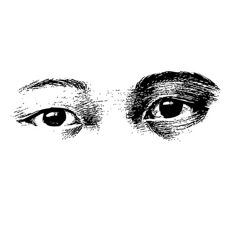 facial features: freehand sketch of human eyes hand drawn on white background