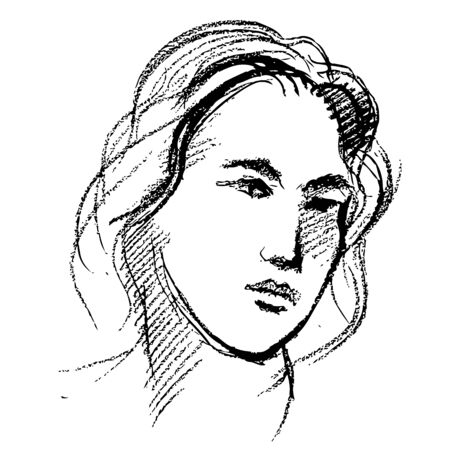 freehand sketch of pretty girl face in my imagination hand drawn on white background