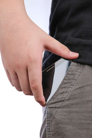 nformation: smartphone with a black screen in the pocket of jeans on white background