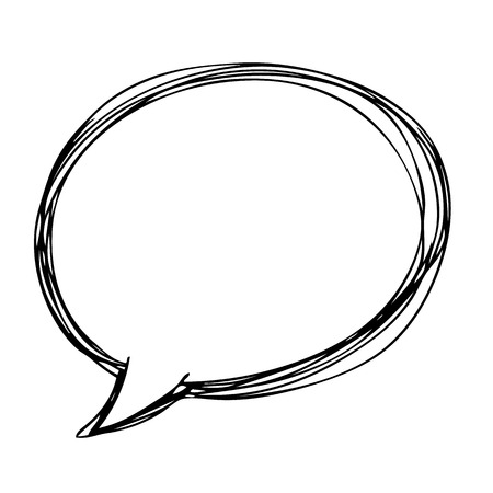 freehand sketch illustration  speech bubble symbol doodle hand drawn