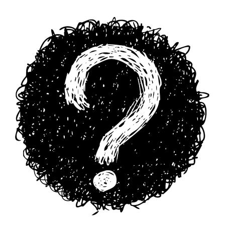 uit de vrije hand schets illustratie van de vraag merken doodle handgetekende