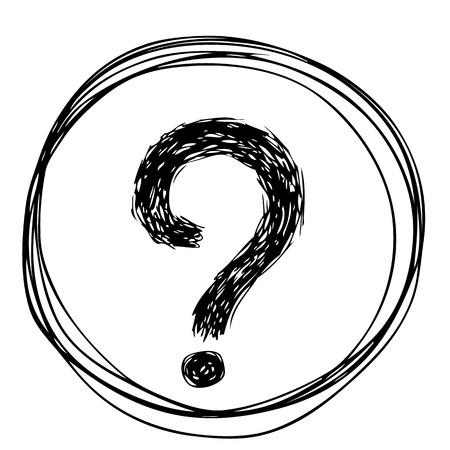 dilemma: freehand sketch illustration of question marks doodle hand drawn Illustration