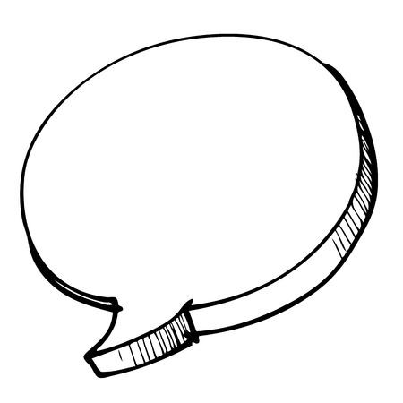 freehand sketch illustration  speech bubble symbol, doodle hand drawn Иллюстрация