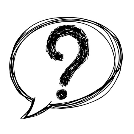 Ilustración boceto a mano alzada de los signos de interrogación en icono de burbuja de diálogo, dibujado a mano del doodle Foto de archivo - 46106934