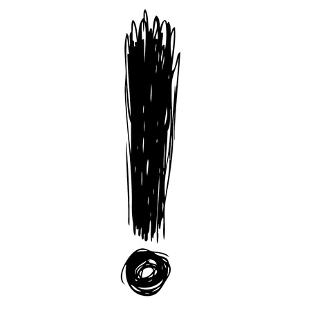 freehand sketch illustration of exclamation mark doodle hand drawn