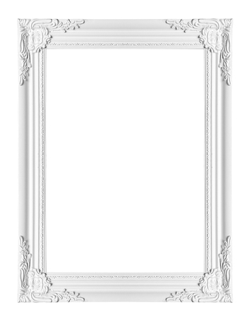white classical vintage frame on white background