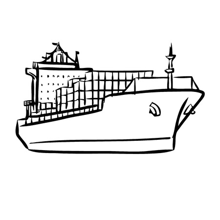 navy ship: freehand sketch illustration of Cargo ship with containers icon, doodle hand drawn