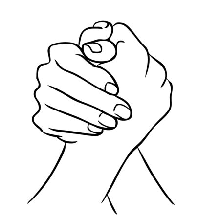 Freehand illustration of join hand or hand shake on white background, doodle hand drawn