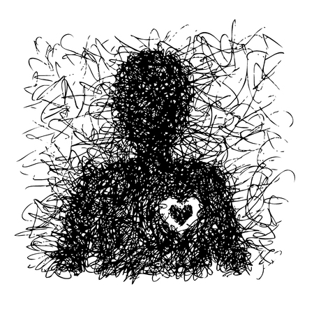 improvisation: Freehand illustration of abstract single man with heart on white background, doodle hand drawn